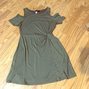 Green cold shoulder mini dress